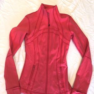 "Lululemon ""define"" coral pink fitted active jacket"